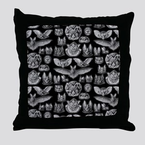 Vintage Bat Illustrations Throw Pillow