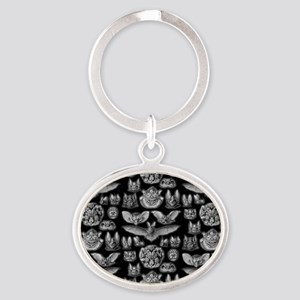 Vintage Bat Illustrations Oval Keychain