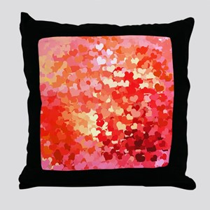 Pink Gold Confetti Hearts Throw Pillow