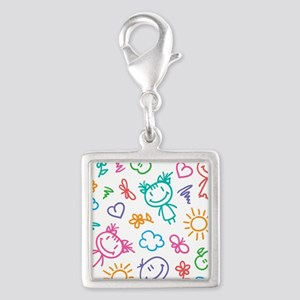 Cute Kids Silver Square Charm
