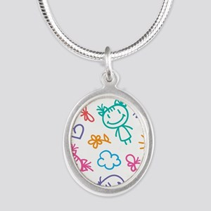 Cute Kids Silver Oval Necklace