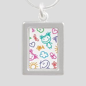 Cute Kids Silver Portrait Necklace