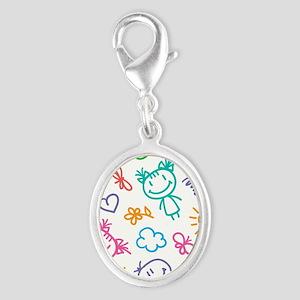 Cute Kids Silver Oval Charm