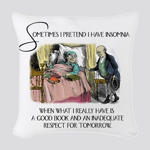 Insomnia and a Good Book Woven Throw Pillow