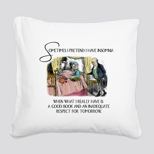Insomnia and a Good Book Square Canvas Pillow