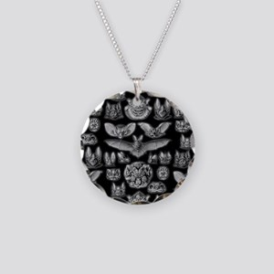 Vintage Bat Illustrations Necklace Circle Charm