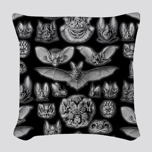 Vintage Bat Illustrations Woven Throw Pillow