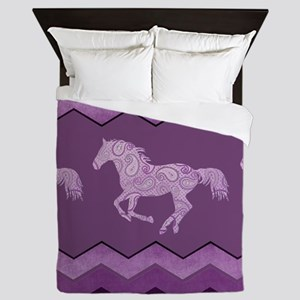 Purple Paisley Horse Queen Duvet