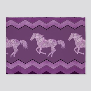 Purple Paisley Horse 5'x7'Area Rug
