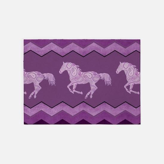 Purple Paisley Horse 5'x7'Area Rug