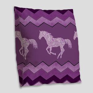 Purple Paisley Horse Burlap Throw Pillow