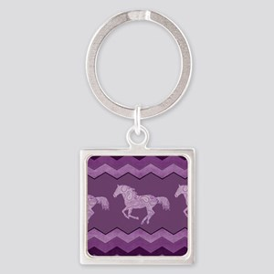 Purple Paisley Horse Square Keychain