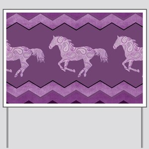 Purple Paisley Horse Yard Sign