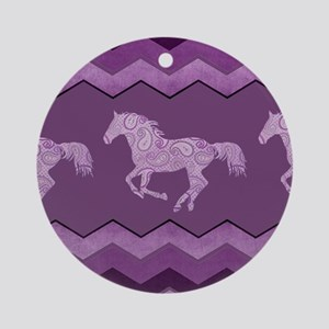 Purple Paisley Horse Round Ornament