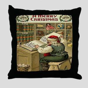 Vintage Christmas Santa List Throw Pillow