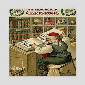 Vintage Christmas Santa List Queen Duvet