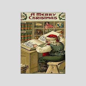 Vintage Christmas Santa List 5'x7'Area Rug