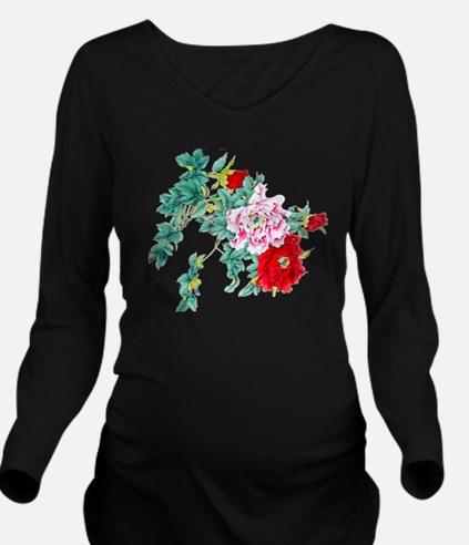 Beautiful Floral Vin Long Sleeve Maternity T-Shirt