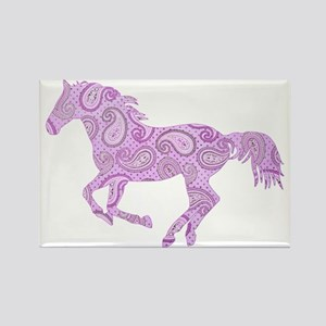Purple Paisley Horse Rectangle Magnet