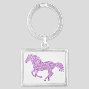 Purple Paisley Horse Landscape Keychain