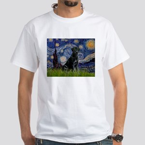 Starry Night Black Lab White T-Shirt
