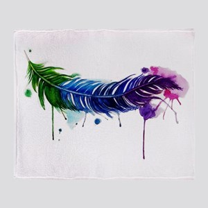 Watercolor Feather Throw Blanket