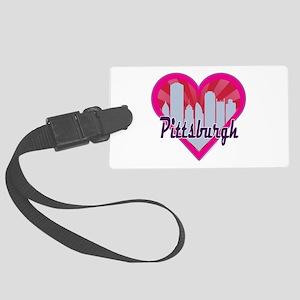 Pittsburgh Skyline Sunburst Heart Luggage Tag