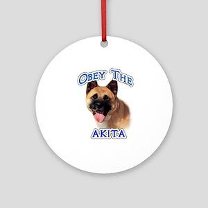 Akita Obey Ornament (Round)