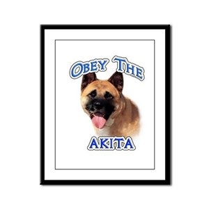 Akita Obey Framed Panel Print