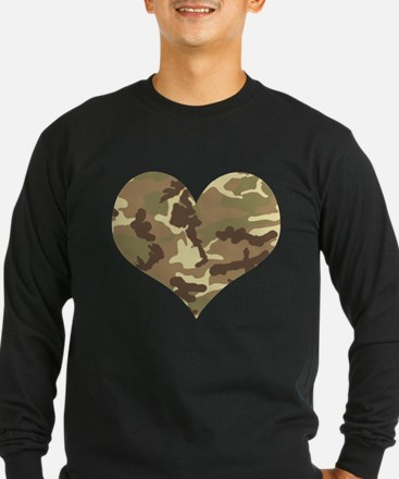 Camouflage Heart Green and Brown Long Sleeve T-Shi