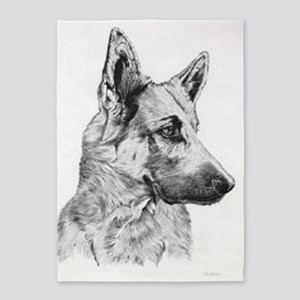 German Shepherd 5'X7'area Rug