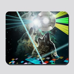 Howling Disco Wolves Hipster Shirt Mousepad