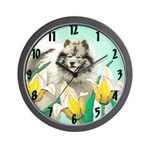 Keeshond in Tulips Wall Clock