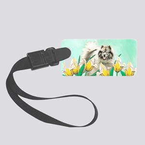 Keeshond in Tulips Small Luggage Tag