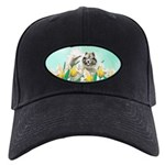 Keeshond in Tulips Black Cap with Patch