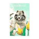 Keeshond in Tulips Sticker (Rectangle)