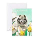 Keeshond in Tulips Greeting Card