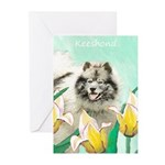Keeshond in Tulips Greeting Cards (Pk of 10)