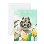 Keeshond in Tulips Greeting Cards (Pk of 20)