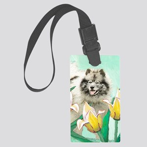 Keeshond in Tulips Large Luggage Tag
