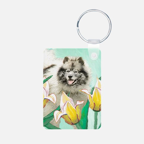 Keeshond in Tulips Keychains
