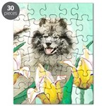 Keeshond in Tulips Puzzle