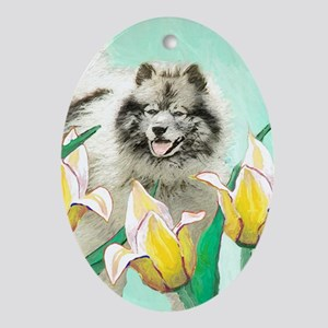 Keeshond in Tulips Oval Ornament