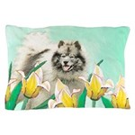 Keeshond in Tulips Pillow Case
