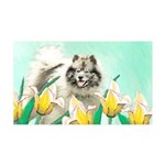 Keeshond in Tulips 35x21 Wall Decal