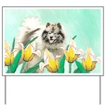 Keeshond in Tulips Yard Sign