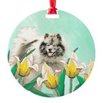 Keeshond in Tulips Round Ornament