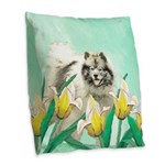 Keeshond in Tulips Burlap Throw Pillow