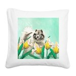 Keeshond in Tulips Square Canvas Pillow