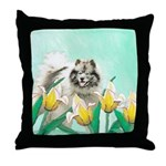 Keeshond in Tulips Throw Pillow